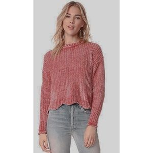 English Factory Pink Chenille Scalloped Sweater